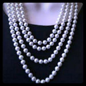 Long faux pearl necklace, Premier Designs